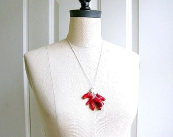Coral Busrt - sterling silver wrapped necklace