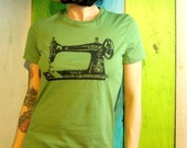 Sewing Machine tshirt screenprint - Sew a Go-Go - Vintage Sewing Machine -  Green and Black- Vintage Inspired Graphic