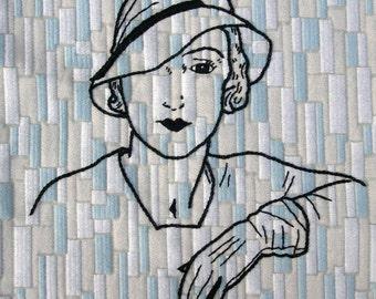 Tote Bag (W-BAG-030), fifties style tote bag, embroidered tote bag, women accessory, handmade bag, shoulder bag, bag for her