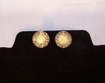 SALE: Vintage Confetti Button Clip On  Earrings 1950's 1960's Retro Lucite