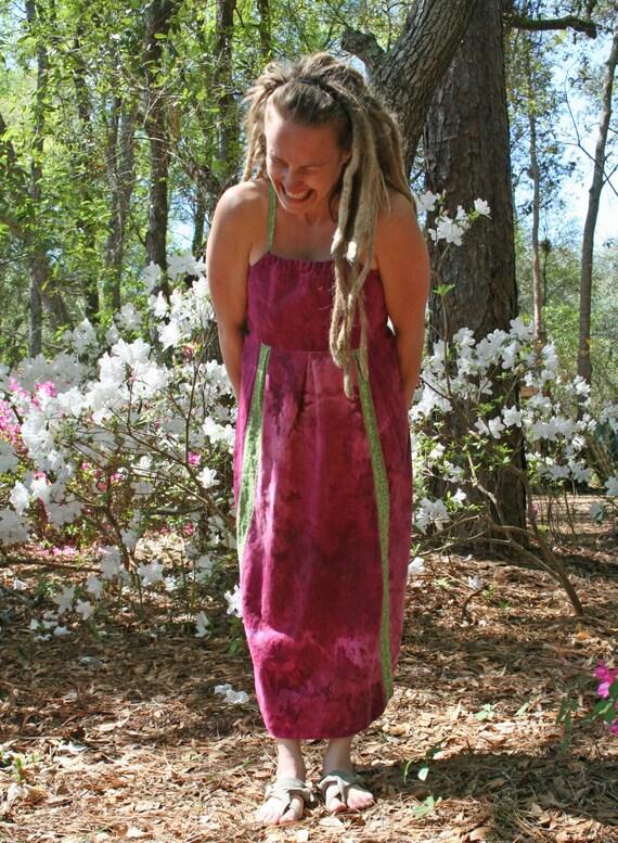 Sipping wine summer hemp and cotton sun dress adjustable