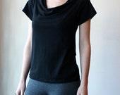 Black Bamboo Blend Cowl Neck Short Sleeve