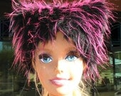 KIDS Pink KOZY KITTY Hat - Pink Black faux fur hat - Krazy Girls hot pink & black fuzzy hat neon clothing kids hats kids accessories costume