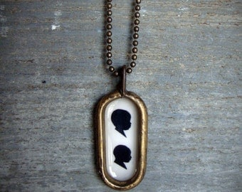 oval pendant . custom silhouette necklace . double silhouette