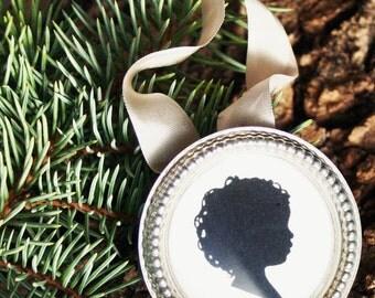 Custom Silhouette Ornament . Silver