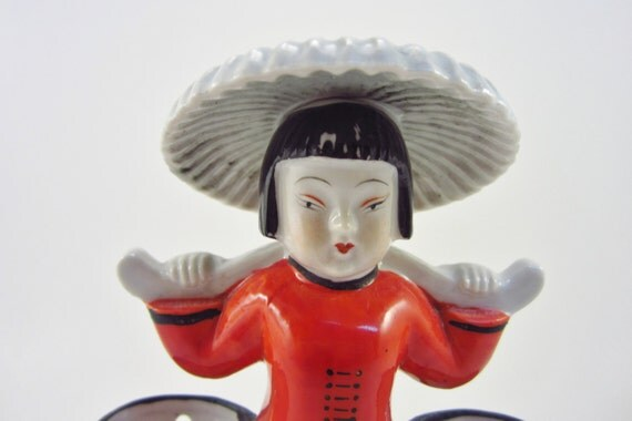 Vintage Asian Woman with Buckets - Retro Chinese Girl - Ceramic Orange Yellow