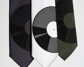 Vinyl Record necktie. Men's music theme silkscreen tie. Your choice of color: Charcoal grey, olive green and more! Standard & narrow width.