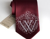 AlphabeTIES. Custom initial necktie. Marsala red & more. Filigree font. Personalized silkscreened single letter microfiber tie. Choose A-Z.