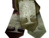 Oak Tree Necktie. Men's silk tie. Screenprinted tree silhouette necktie, sage green ink.