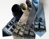 Clipper Ship Necktie. Men's nautical print tie. Pirate, schooner, sailing ship print. Choose narrow or standard width silkscreened necktie.