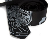 Circuit Board Necktie. Short Circuit tie. Silver silkscreen print on a black tie. Skinny, narrow, wide or big and tall size. Geek gift.