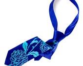 Chrysanthemum necktie. Floral print, royal blue & turquoise silk tie. Botanical print, bold flower design.