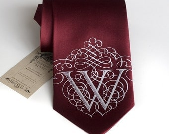 "Custom Initial Necktie. Personalized silkscreened single letter tie. Filigree font. Marsala red & more. ""AlphabeTIES."" Choose A-Z."