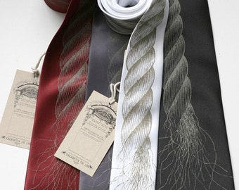 Neck Noose - screenprinted rope necktie. Choose standard narrow or skinny width, or extra long.