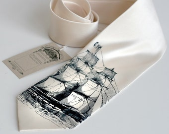 Sailing Ship Necktie. Men's cream tie. Silkscreened Clipper Ship design, navy blue ink on cream. Narrow or standard microfiber.