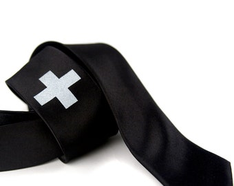 "Mod black skinny tie, ""Medic"" - screen printed men's necktie, cross design. Microfiber. Silkscreen silver print."