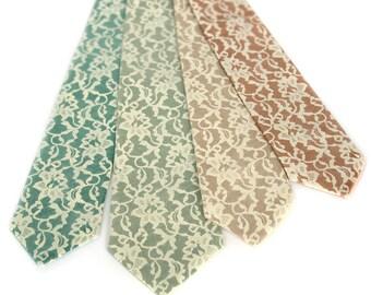 Wedding neckties, 4 custom color groomsmen ties, wedding group discount. Matching vegan-safe microfiber ties, screenprinted design.