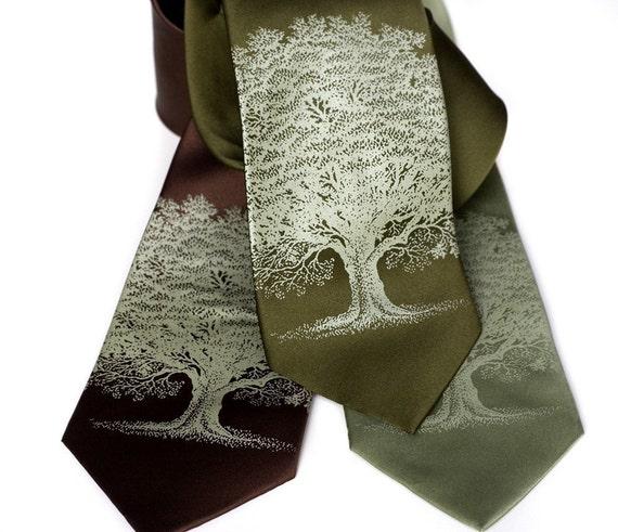 Oak Tree Necktie. Men's silk tie. Screenprinted tree silhouette necktie, sage green ink.