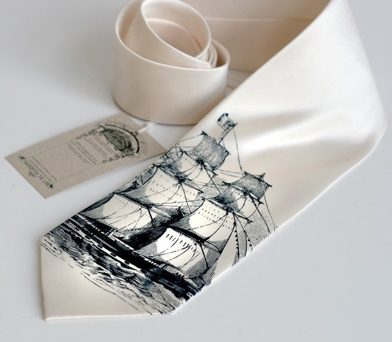 Sailing Ship Necktie. Men's cream tie. Silkscreened Clipper Ship design, navy blue ink on cream. Narrow or standard microfiber.