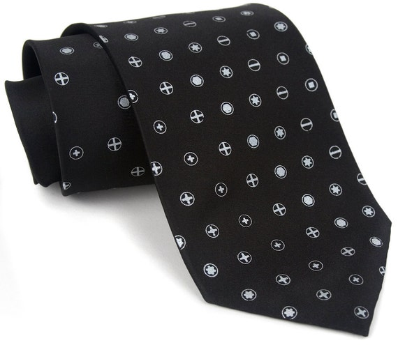 Loose Screw men's necktie. Silkscreen screwdriver polkadot tie on microfiber. Silver print. Perfect for tinkerers, carpenters and mechanics.