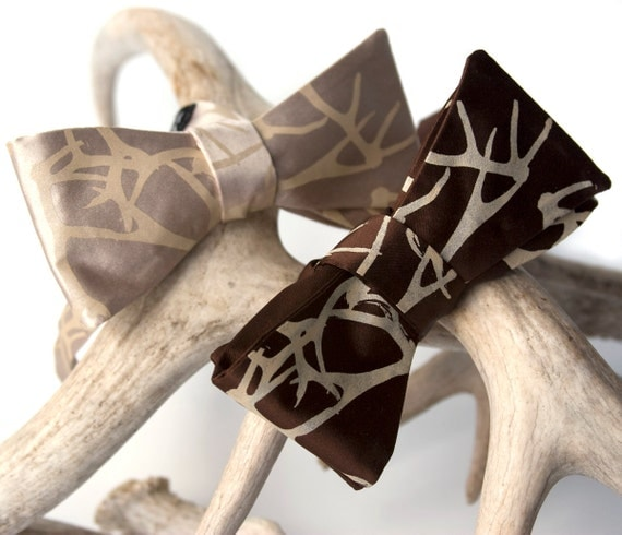 "Antler bow tie. ""Stag Party"" chocolate brown men's bow tie, self tie. Silkscreened tan print. More colors available."
