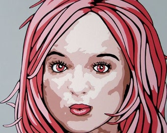 ORIGINAL POP Art Portrait Painting Large Acrylic Comic Style Portait Redhead Pink Red Hair Girl Portrait Picture