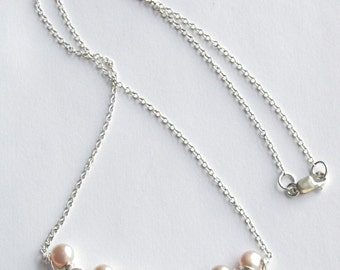 Pearl necklace, pearl pendant,  freshwater pearls, sterling silver chain, wire wrapped