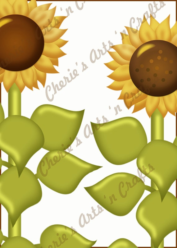 Instant Download, Glossy Sunflowers Graphics, PNG Clip Art Kit, Digital Embellishments, Printable JPG Collage Sheet Included