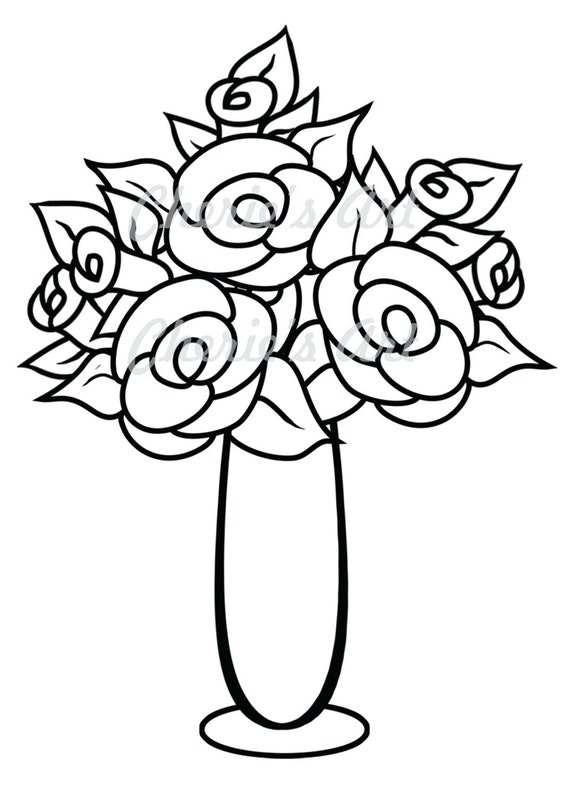 Line Drawing Flower Vase : Line art flower vase digi stamp digital