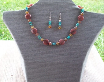 Mojave- A Purple Adventurine, Turquoise, and Crystal Necklace