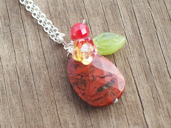 Japonica- A Red Jasper, Coral, Flower and Leaf  Pendant