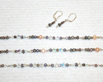Shimmer and Sparkle Necklace, Bracelet, and Earrings Set