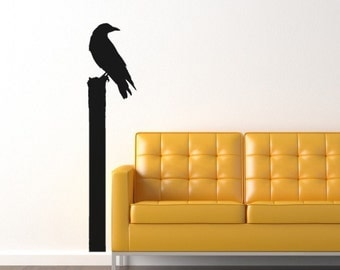 Crow on a Fence Post Vinyl Wall Decal