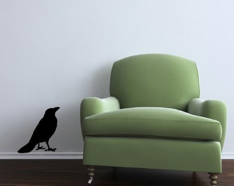 Standing Crow Looking Up Vinyl Wall Decal