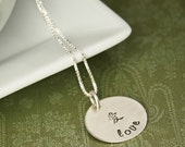 Silver Chinese Character Necklace - Peace Love or Happiness