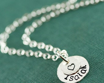 Silver Stamped Name Mother's Necklace with a Heart