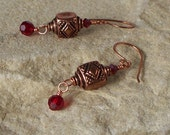 Red Light Lanterns - Copper and Sworovski Crystal Earrings SRAJD Clearance Sale