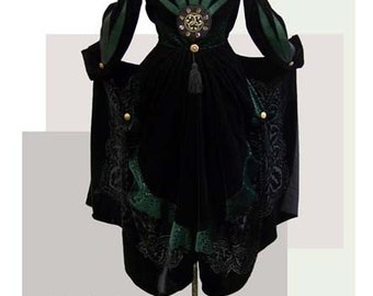 steampunk frock coat, neo victorian in black velvet RESERVED ORDER