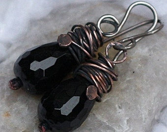 Black Faceted Teardrop Earrings Copper Earrings Copper Jewelry