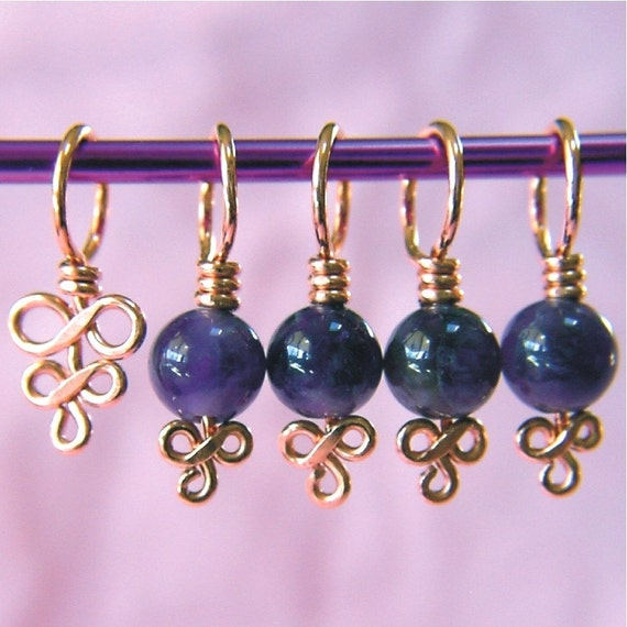 Copper and Amethyst Stitch Markers - Set of 5 - Excellent Hand Craftsmanship for Your Knitting