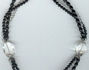 Onyx and Huge Quartz Crystal Multi-Strand Necklace