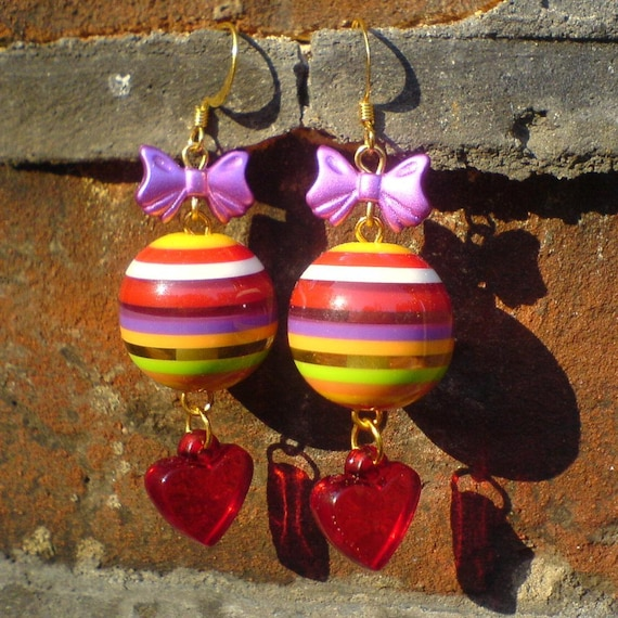 Stripy Bauble Earrings with Red Hearts - Big chunky earrings with stripey gumball beads, magenta bows & heart charms - Colourful and cute!