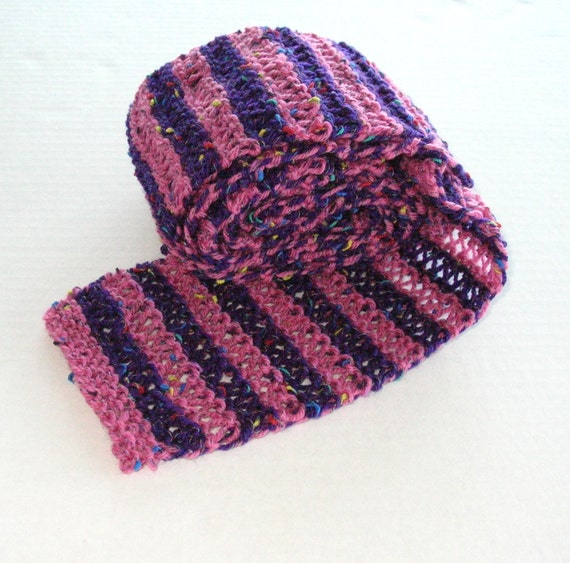 Pink and Purple Wool Striped Scarf
