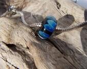 SALE - Handmade Lampwork Silver Blue on Black - European Slider Bead