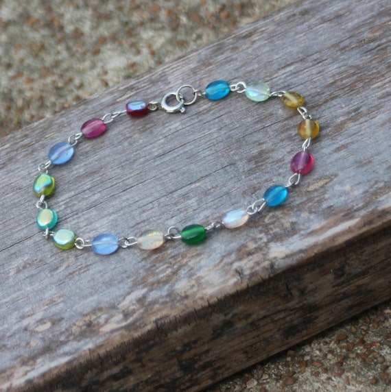 Multi Color Beaded Bracelet, Candy Colored stones on silver findings, Womens Teens Girls Jewelry, Fashion Accessory