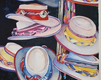 """Southwestern hats original watercolor white red yellow pink purple black hanging hats """"on the rack""""  still life"""
