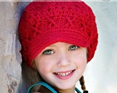5T-Preteen Girls Winter Hat, Crochet Hat, newsboy hat, newsgirl hat, apple cap, red hat, hat with brim, childrens hat, child hat, winter hat