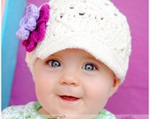 12-24 months Ivory Crochet Hat, Toddler Girl Hat, Baby Girl Hat with Flowers, Childrens Crochet Hat, Hat for Girls, Spring Hat, Winter Hat