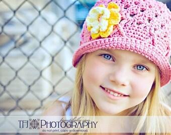 Rose Pink Bucket Hat, Crochet Bucket Hat, Childrens Hat, Bucket Hat for Girls, Pink Sun Hat, Pink Toddler Hat, Sun Hat, 12-24 Months Girls