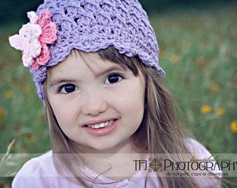 12-24 months Girl Crochet Hat, Kids Hat, Flapper Hat, Cloche Hat, Childrens Hat, Purple Hat, Violet Hat, Hat with Flowers, Hat for Girls